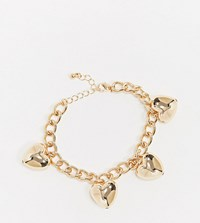 Monki Harty Chain Bracelet With Heart In Gold