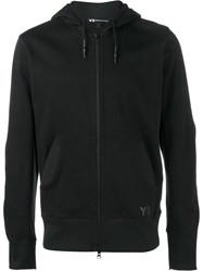 Y 3 Cotton Logo Hooded Sweatshirt Black