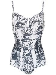 Martha Medeiros Printed Swimsuit White