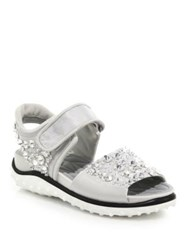 Miu Miu Jeweled Sport Sandals Silver