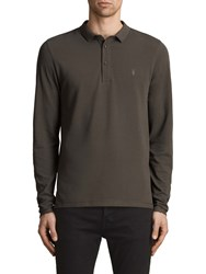 Allsaints Reform Long Sleeve Polo Shirt Military Green