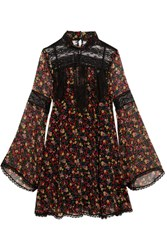 Anna Sui Lace Paneled Printed Silk Georgette Mini Dress Black