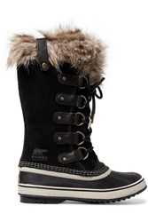 Sorel Joan Of Arctic Faux Fur Trimmed Waterproof Suede And Rubber Boots Black