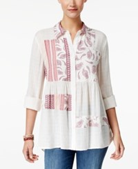 Style And Co Mixed Print Roll Tab Blouse Only At Macy's Patchwork Craze