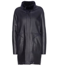 Loro Piana Cornell Reversible Shearling And Leather Coat Blue