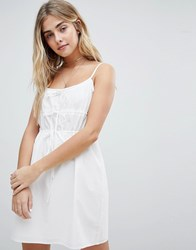 Honey Punch Cami Sun Dress With Gathers White