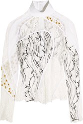 Carven Paneled Lace White