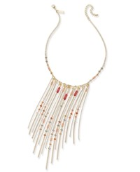 Inc International Concepts Gold Tone Multi Stone Fringe Statement Necklace Only At Macy's Coral