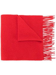 Pringle Of Scotland Slim Knit Scarf Cashmere Red
