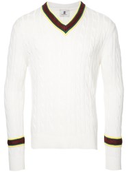 Kent And Curwen V Neck Jumper White