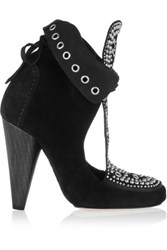 Isabel Marant Mossa Studded Cutout Suede Ankle Boots Black