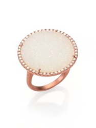 Meira T Druzy Diamond And 14K Rose Gold Cocktail Ring