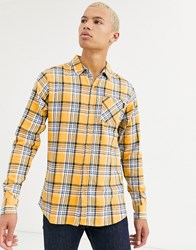 Soul Star Tall Fitted Check Shirt With Pocket Yellow