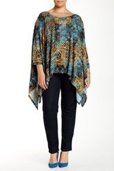 West Kei 3 4 Length Sleeve Printed Knit Blouse Multi