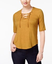 American Rag Three Quarter Sleeve Lace Up Top Only At Macy's Ochre