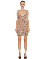 Roberto Cavalli Bead Embroidered Stretch Tulle Dress Multicolor