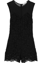 Sandro Paradise Mesh Paneled Guipure Lace Playsuit Black