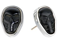 King Baby Studio Obsidian Skull Stud Earrings Black Silver Earring