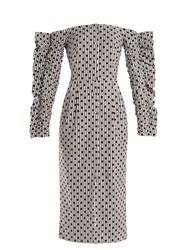 Anna October Off The Shoulder Polka Dot Cotton Dress Grey Multi