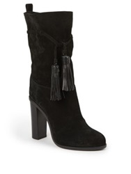 Lanvin Suede And Leather Tasseled Mid Calf Boots Black