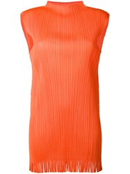 Issey Miyake Pleats Please By Ribbed Fringed Tank Women Polyester 5 Yellow Orange