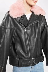 Topshop '80S Leather Aviator Jacket By Boutique Pink