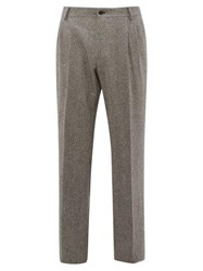 Dolce And Gabbana High Rise Wool Blend Tweed Trousers Grey