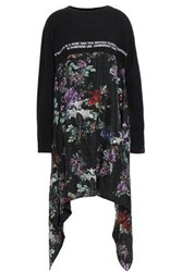 Each X Other Draped Silk Paneled Embroidered Cotton Jersey Mini Dress Black