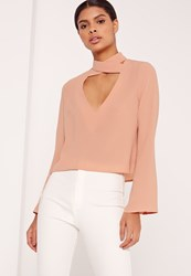 Missguided Flared Sleeve Cross V Neck Blouse Nude
