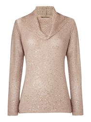 Tigi Cowl Neck Sequin Jumper Brown