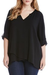 Karen Kane Plus Size Women's Asymmetrical Wrap Front Top