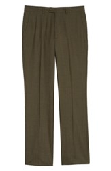 Santorelli Flat Front Solid Wool Trousers Smokey Brown