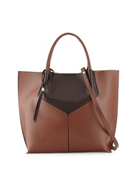 Neiman Marcus Made In Italy Two Tone Leather Shopper Tote Cognac Brown