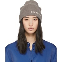 Givenchy Grey And Off White Embroidered Logo Beanie