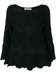 D.Exterior Floral Embroidered Blouse Black