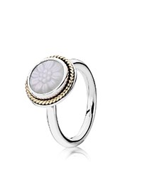 Pandora Design Pandora Ring Sterling Silver 14K Gold And Mother Of Pearl Daisy Signet Silver Gold White