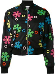 Moschino Floral Applique Bomber Jacket Women Polyester 40 Black