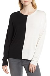 Trouve Asymmetrical Pullover Sweater Black Ivory
