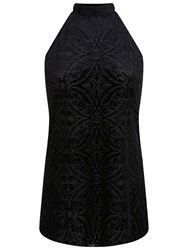 Miss Selfridge Cutaway Devore Tunic Top Black