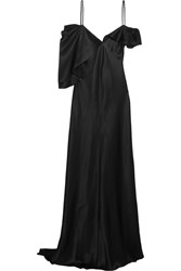 Saint Laurent Asymmetric Silk Satin Gown Black