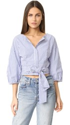 J.O.A. Puff Sleeve Stripe Blouse Blue White