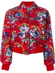 Kenzo Vintage Quilted Bomber Jacket Red
