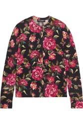 Dolce And Gabbana Floral Print Cashmere Cardigan Pink