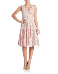 Vera Wang Lace V Neck Fit And Flare Dress Blush