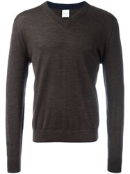 Paul Smith V Neck Jumper Brown