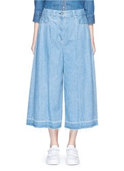 Sacai Let Out Cuff Cotton Denim Culottes Blue