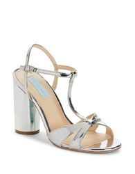 Betsey Johnson Luisa High Heel T Strap Sandals Silver