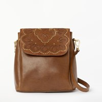 And Or Isabella Leather Cutwork Backpack Tan