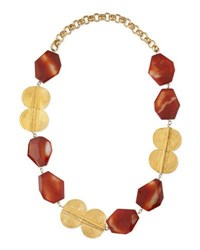Devon Leigh Carnelian Gold Plated Medallion Necklace Red