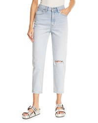 Levi's Premium Donna Martin Straight Leg Cropped Mom Jeans Light Blue